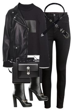 A fashion look from November 2015 featuring high neckline tops, leather biker jackets and high-waisted skinny jeans. Browse and shop related looks. Edgy Outfits, Fall Outfits, Cute Outfits, Fashion Outfits, Pants Outfit, Outfit Sets, Outfit Goals, Look Fashion, Autumn Fashion