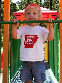 Kids Arkansas Razorback Wooo Pig Sooie by DoodleandBugDesigns, $12.00..My little dude showing off his new shirt :)