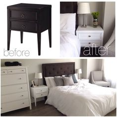 Refinished two dark wood nightstands and added new hardware to all room furniture to complete the classic white look in a brand new loft! #AMLIDIY