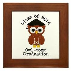 Cute Graduation Owl with mortar board Framed Tile> Cute graduation owl with mortar board> Victory Ink Tshirts and Gifts