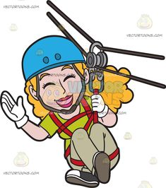 A Giddy Woman Zip Lining: A woman with curly blonde hair wearing an apple green shirt light beige pants black with white shoes white gloves blue helmet shuts her eyes and smiles in delight as she does the zip line Beige Pants, Black Pants, Travel Clipart, White Gloves, Green Shirt, Light Beige, Curly Blonde, Clip Art, Cartoon