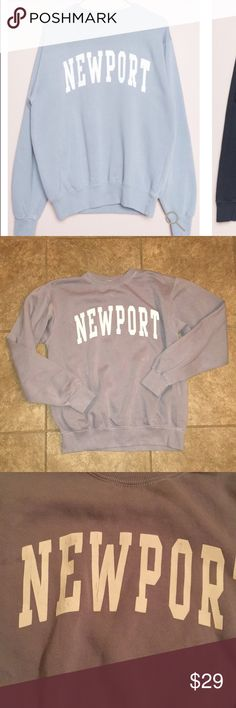 "Brandy Melville erica NEWPORT sweatshirt Relaxed fit fleece-lined sweatshirt in slate blue with NEWPORT graphic printed in white with textured paint flocking.  Fabrics: Measurements: SIZE S: 22"" length, 22"" bust SIZE One size  Made in: USA brand new never worn comes from a pet free smoke free home NO TRADES Brandy Melville Tops Sweatshirts & Hoodies"