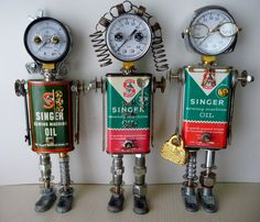 ➰Robot. (I) Ladies of the Quilting Bee Sewing Circle. #robot #junk #art