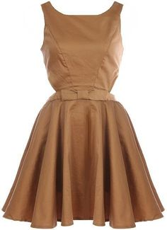 Caramel A-Line Frock: Features princess seams on the bodice with a four-button closure to the rear, cutout sides and open backside, bow-tie accent at the waist, and a beautifully-pleated flouncy skirt to finish.