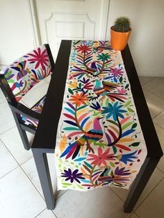 Table runners hand embroidered by the Otomi by UniqueMexicanDesign