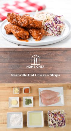 Nashville Hot Chicken Strips with remoulade slaw Hello Fresh Recipes, Chicken Strips, Home Chef, Chef Recipes, Chicken Recipes, Turkey Recipes, Fall Recipes, Food Inspiration, Easy Meals
