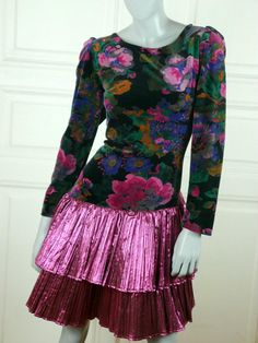 1980s Evening Dress, Black Cerise Pink Blue Violet German Vintage Prom Dress, Formal Floral Party Dress, Cocktail Dress: Size 10 US, 114 UK by YouLookAmazing on Etsy