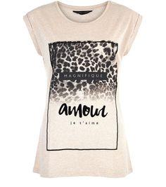 Cream Amour Leopard Print Roll Sleeve T-Shirt   New Look