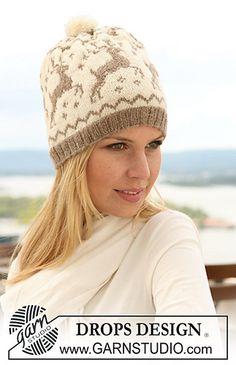 DROPS Knit Reindeer Hat free pattern