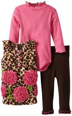 Bonnie Baby Baby Girls' Leopard Rose Fleece Legging Set, Brown, 12 Months