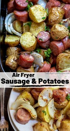 An entire meal made right in your air fryer. This Air Fryer Sausage and Potatoe.- An entire meal made right in your air fryer. This Air Fryer Sausage and Potatoes Dinner Recipe is a super simple air fried meal that the whole family will enjoy! New Air Fryer Recipes, Air Frier Recipes, Air Fryer Dinner Recipes, Easy Dinner Recipes, Easy Meals, Breakfast Recipes, Weight Watchers Desserts, Air Fryer Tilapia Recipe, Low Carb Meal