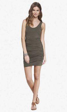 GREEN RUCHED TANK DRESS | Express