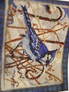 Pic Pic, Blue Jay Bird, Rug Hooking Patterns, Punch Needle, Rug Making, Bugs, Bohemian Rug, Wool, Crafts