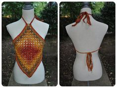 Granny Square Halter Crop Top // Autumn Halter Top by OfMars