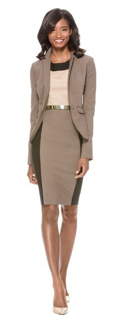 Business Review - Create this look with our Collection Flap Pocket Jacket, Collection Colorblock Sheath Dress and Metal Bar Skinny Belt from THELIMITED.com