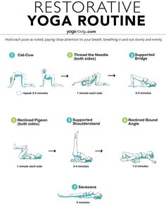 Switch up your usual yoga routine for this relaxing restorative yoga sequence that will help calm anxiety and stress, and relieve aches and pains. Yoga Meditation, Yoga Régénérateur, Yin Yoga, Yoga Flow, Vinyasa Yoga, Pilates Workout, Pilates Reformer, Restorative Yoga Sequence, Yoga Sequences