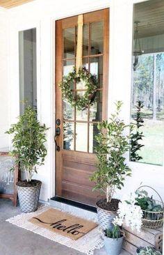 Ideas Farmhouse Front Door Color Dream Homes Front Door Rugs, Front Door Porch, Wood Front Doors, Front Door Entrance, Front Door Colors, Glass Front Door, Front Door Decor, Wooden Doors, Front Porches