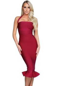 14c479ec75c Red Halter Mermaid Flare Midi Bodycon Bandage Dress  bandagedresses   mermaid  red Red Midi
