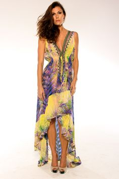 Picture of Shahida Parides Hi Low Palm Print Dress in Yellow