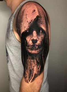 My first piece by Robby at Damascus Tattoo, Damascus, MD via Matching tattoos Evil Tattoos, Wicked Tattoos, Creepy Tattoos, Skull Tattoos, Black Tattoos, Body Art Tattoos, Sleeve Tattoos, Evil Skull Tattoo, Occult Tattoo
