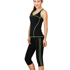 women yoga sets on sale at reasonable prices, buy Vertvie 2 Pieces Women Yoga Set Crop Top Shirts + Skinny Legging Capri Pants Sports Sets Gym Running Clothing Fot Women Fitness from mobile site on Aliexpress Now! Leggings Capri, Tops For Leggings, Capri Pants, Crop Top Shirts, Crop Tops, Suits For Women, Fit Women, Skinny, Sleeveless Crop Top