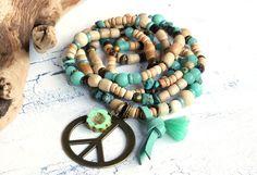 Charm- & Bettelketten - ★ Kette Peace ☮ Boho ☮ Hippie ★ - ein Designerstück von Lunas-SchmuckART bei DaWanda