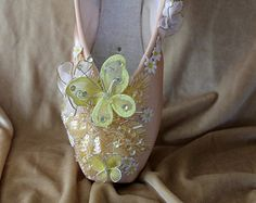 Lemon sequined hand decorated pointe shoe