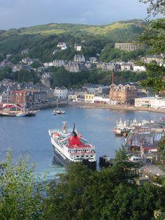 Oban Harbor, Scotland, UK.  The Caledonia McBrayne  ferry.