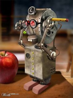 The ultimate nerdy robot, with a pencil sharpener for a head and erasers for feet.