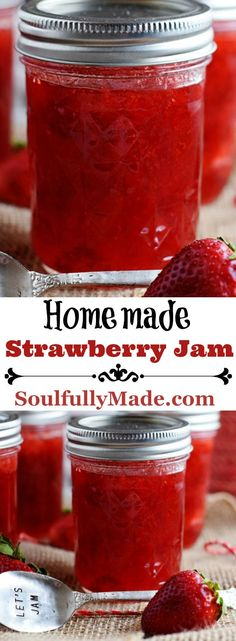 Fresh Strawberries sliced, mashed and boiled with lemon juice and sugar to make the most delicious Small Batch Homemade Strawberry Jam! Capture the sweet goodness of the Strawberry Season so you can taste it all year long. Strawberry Jelly Recipes, Strawberry Freezer Jam, Homemade Strawberry Jam, Fruit Recipes, Sugar Free Strawberry Jam, Homemade Jelly, Canning Recipes, Pastries, Marmalade