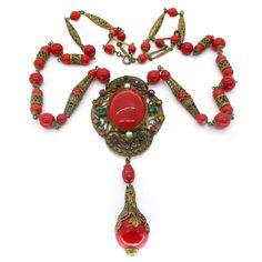 Vintage Art Deco Czech Red Cabochon Filigree Glass Bead Necklace | Clarice Jewellery | Vintage Costume Jewellery