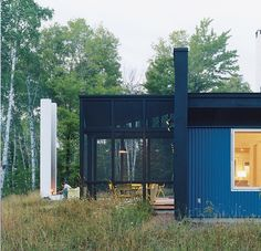 Above: Two views of a modern screened porch by architect David Salmela in Wisconsin; via Dwell.