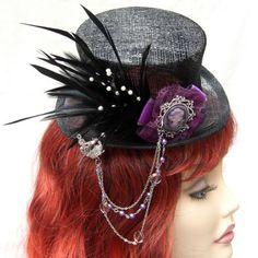 Purple Cameo, Sinamay Mini top Hat - midnightrosecreations.