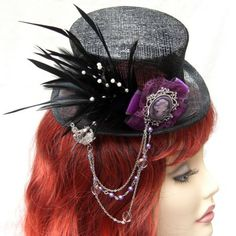 Purple Cameo, Sinamay Mini top Hat - midnightrosecreations