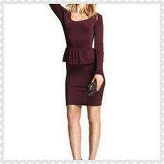 Victoria's Secrets Peplum Dress This dress is in a beautiful maroon Burgundy stretch fabric in excellent condition. Victoria's Secret Dresses