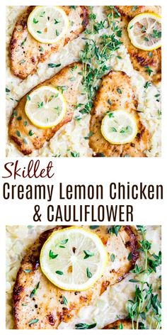 Skillet Creamy Lemon Chicken with Cauliflower - a keto recipe that's also suitable for those on low carb or gluten free diets as well. This one pan meal is quick and easy to make and perfect for the whole family. | #dlbrecipes #ketorecipes #lowcarbrecipes #lemonchicken #creamychicken