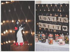 Our cake with a hand painted topper done by me and my handmade giant mason jars for my lolly buffet ( I painted the lids and attached a drawer pull to the top )
