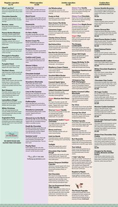 The Flying Cupcake Bakery-Menu, Pricing, Event Planning - Menu - Foodz - Best Cake Recipes Bakery Menu, Home Bakery, Baking Business, Cake Business, Cupcake Bakery, Cupcake Cookies, Cupcake Shops, Cupcake Flavors, Cupcake Recipes