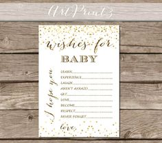 Dear Baby Printable Baby Shower Wishes Printable Baby by ArtPrint3