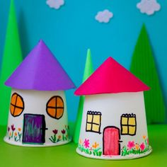 Recreate your childhood memories with this Paper Cup Miniature Village craft - Fun, Frugal and so easy to make