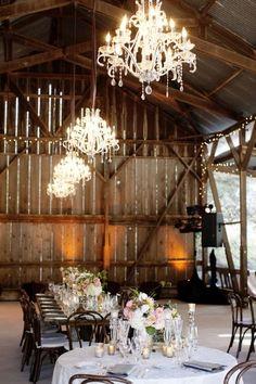Rustic environment + fancy lighting = Farm-style Wedding reception? LOVE this!