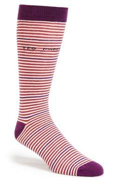 Men's Ted Baker London Stripe Socks - Pink