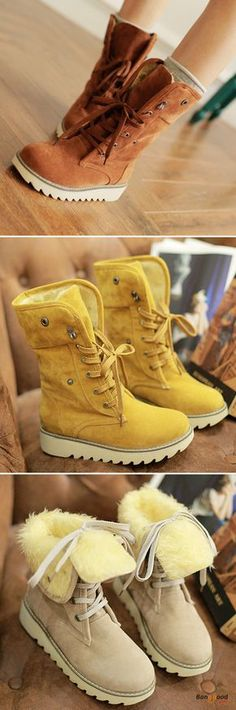 Fall in love with casual and elegant style! US Size Winter Women Suede Boots Casual Outdoor Mid-calf Snow Boots. Casual Winter Outfits, Casual Boots, Fall Outfits, Outfit Winter, Dress Outfits, Suede Boots, Ugg Boots, Leather Sandals, Beige Boots