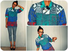 Vintage Color Block Grandpa Sweater, Thrifted Gray Plaid Leggings, Vintage Mickey Swarosky Pin