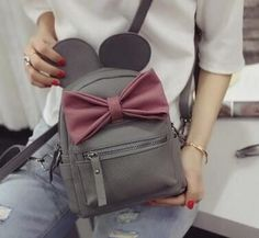 Disney Minnie Mickey Mouse Ears Bow Mini Backpack Bag- Available In 12 Color Combinations