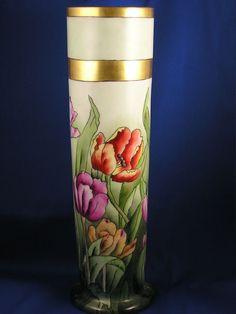 """Large T&V Limoges Arts & Crafts Tulip Motif Vase (Signed """"Maude Terensdahl""""/Dated 1922)"""
