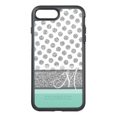 Silver Glitter Polka Dot Monogram Can CHANGE color OtterBox Symmetry iPhone 7 Plus Case