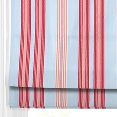 By the beach - Powder Blue with pink and red stripe - great look for a Roman Blinds  in a coastal room decor  #blinds #home decor #247