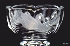 "France Crystal Frosted Swans Bowl Candy Dish  24% lead crystal bowl made in France with raised frosted swans. No cracks or chips. Bowl measures approx. 6 inches  in diameter  and it is 4"" tall.$16"