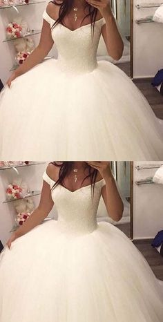 Off the shoulder ball gown wedding dresses,bridal gown, 2017 ball gown wedding dresses, dresses for bridal, elegant prom dresses - Off Shoulder Wedding Dress, Wedding Dress Train, Dream Wedding Dresses, Bridal Dresses, Tulle Wedding, 2017 Wedding, Puffy Wedding Dresses, Cinderella Wedding Dresses, Wedding Ball Gowns